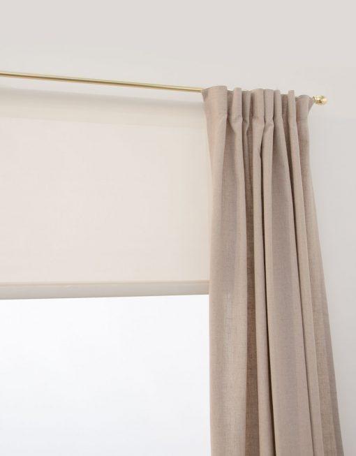 Rullgardin Screen beige gardin lina mässing