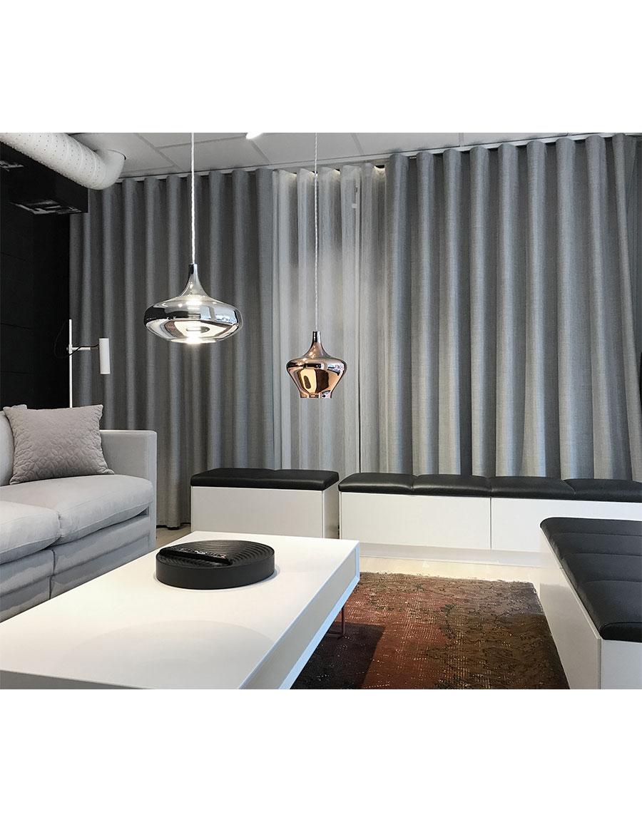 Måttillverkad gardin Good Night, mörkläggande 100%, ljusgrå