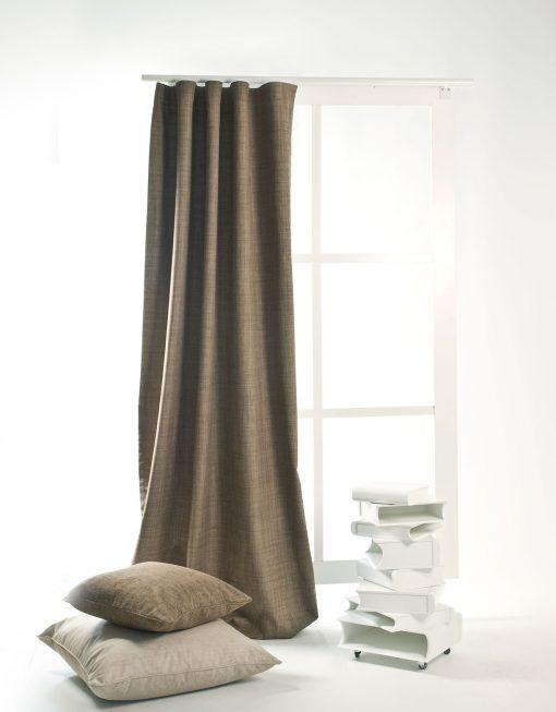 Måttillverkad gardin Silent Night, mörkläggande 100%, brun
