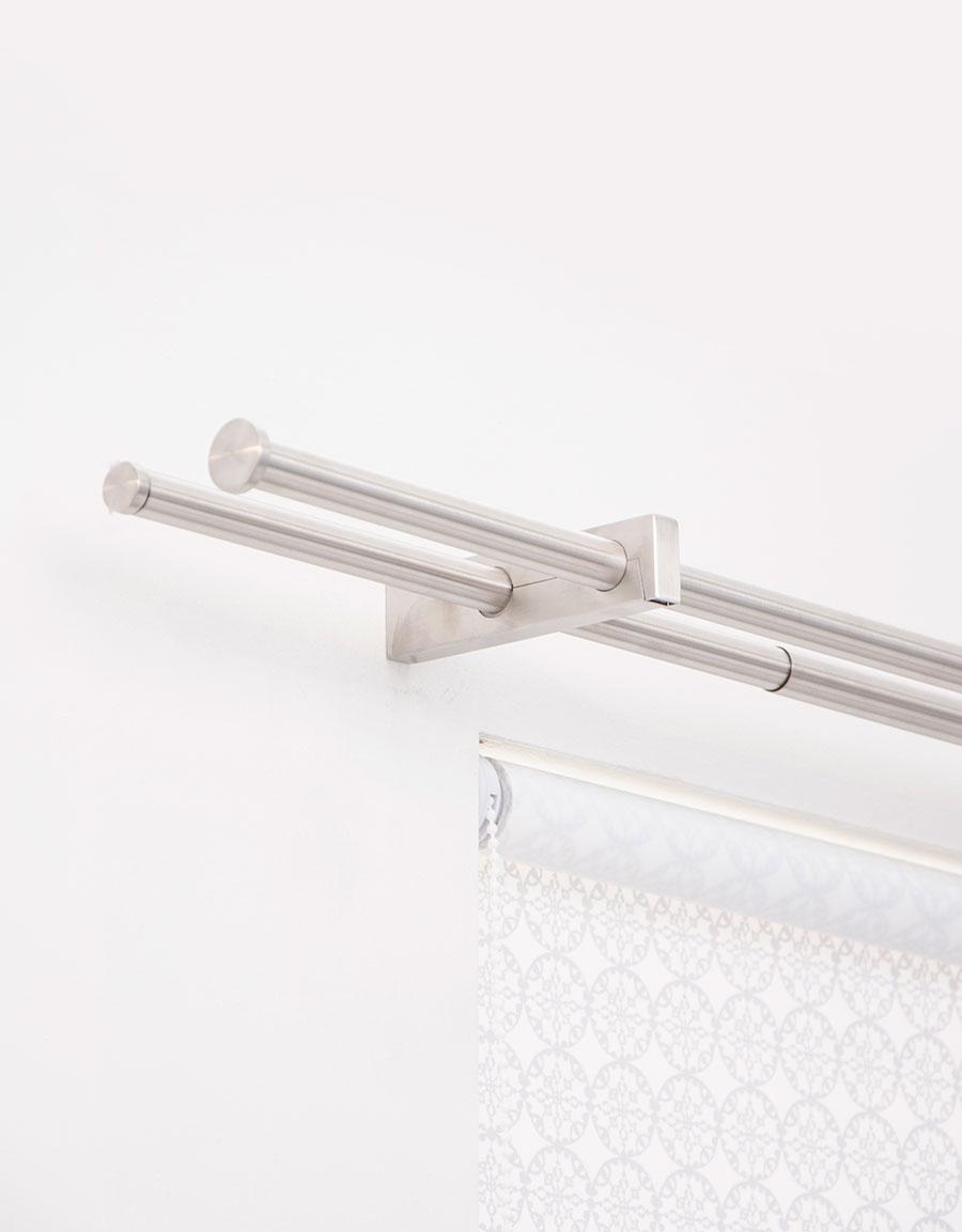 dubbel gardinstång Architect rostfritt stål