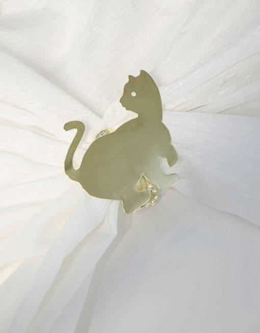 Servettring och dekorklämma Katt mässing