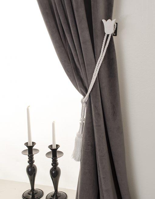 Omtagsfäste för gardinomtag, vit tulpan