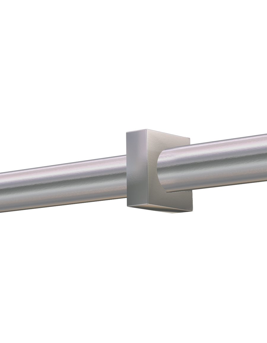 Stångdekor Square, rostfritt stål, 26/28 mm