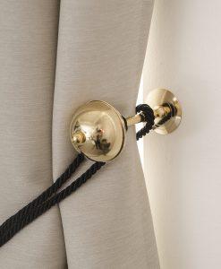 Omtagsfäste för gardinomtag halvklot, guldpläterat
