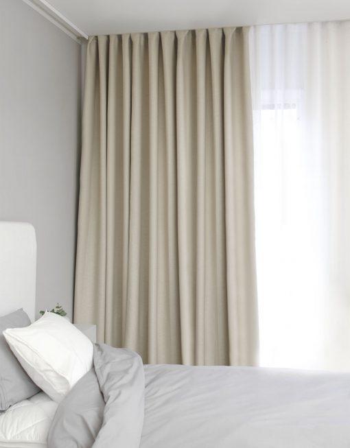 Hotellgardin beige, måttillverkad mörkläggande Hasta