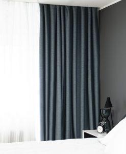 Hotellgardin blå måttillverkad mörkläggande Hasta