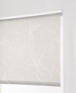 Rullgardin mönstrad blommig ljusgrå, måttillverkad