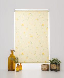 Rullgardin blommig gul, måttillverkad Hasta