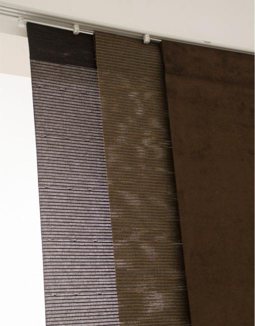 Panelgardin brun, mörkbrun, panelskena, HAsta