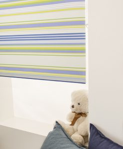 Rullgardin Stripe, blå/grön, måttillverkad