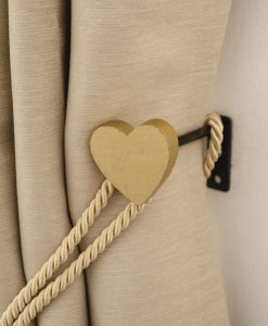 Omtagsfäste Hjärta, guld, trä, för gardinomtag