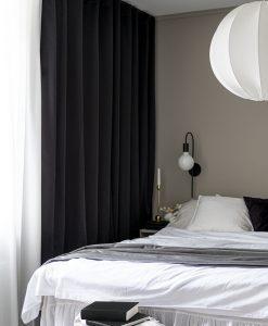 Hotellgardin mörkläggande svart, måttillverkad Hasta