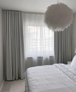 Måttillverkad gardin Good Night, mörkläggande 100%, vit