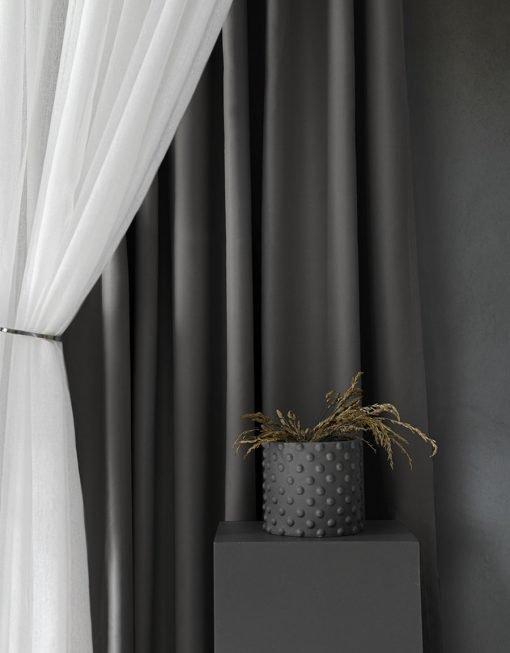 Måttillverkad hotellgardin, Mörkläggande, grå gardin Dokie