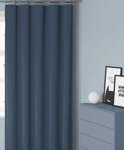 Måttillverkad hotellgardin Dokie, mörkläggande 95%, blå