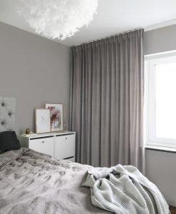 Sammetsgardin måttillverkad Ljuva, grå (varm), hotellgardin