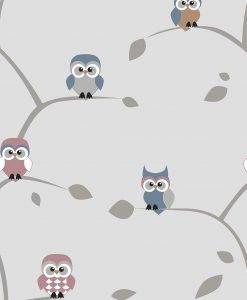 Måttillverkad gardin Owl, 95% mörkläggande, grå