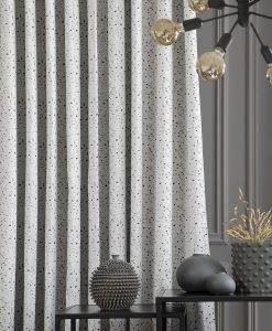 Måttillverkad gardin mörkläggande, Composite, vit/svart