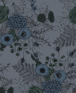 Måttillverkad gardin mörkläggande, Livia, blå