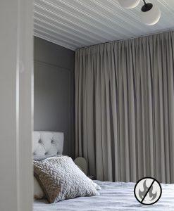 Flamskyddad gardin Luton, ljusgrå (varm), måttillverkad