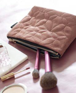 Necessär i sammet, rosa