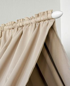 Sänghimmel, komplett paket med mörkläggande tyg och stänger, beige och vit